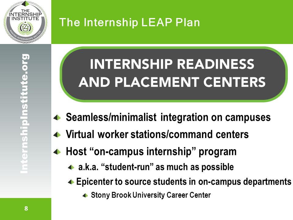 9 InternshipInstitute.org The Internship LEAP Plan Aim is for NO later than 2011 on campuses Immediate action (TRIAGE 2008) See FULL Internship LEAP Initiative Plan Based on 4 New Realities About Internships