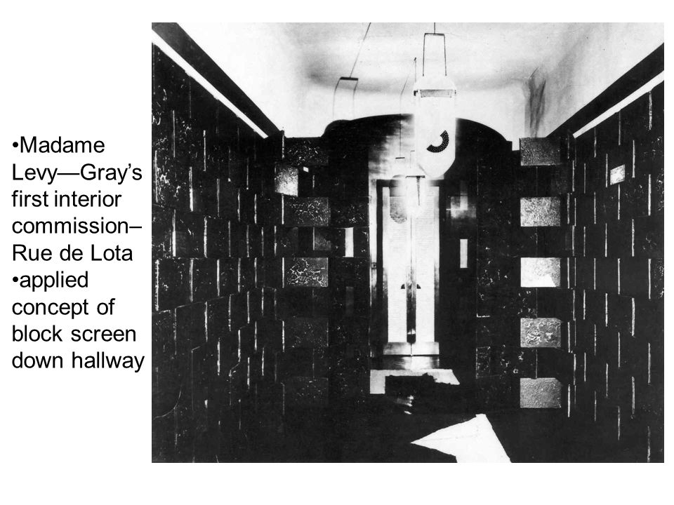 Madame Levy—Gray's first interior commission– Rue de Lota applied concept of block screen down hallway