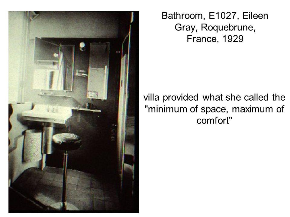 Bathroom, E1027, Eileen Gray, Roquebrune, France, 1929 villa provided what she called the