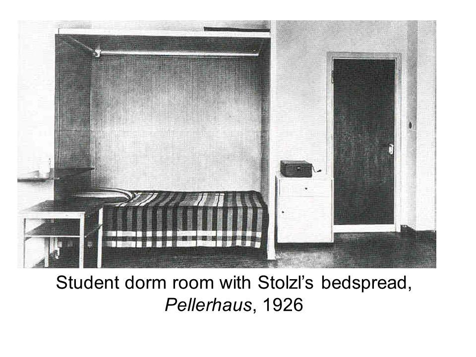 Student dorm room with Stolzl's bedspread, Pellerhaus, 1926