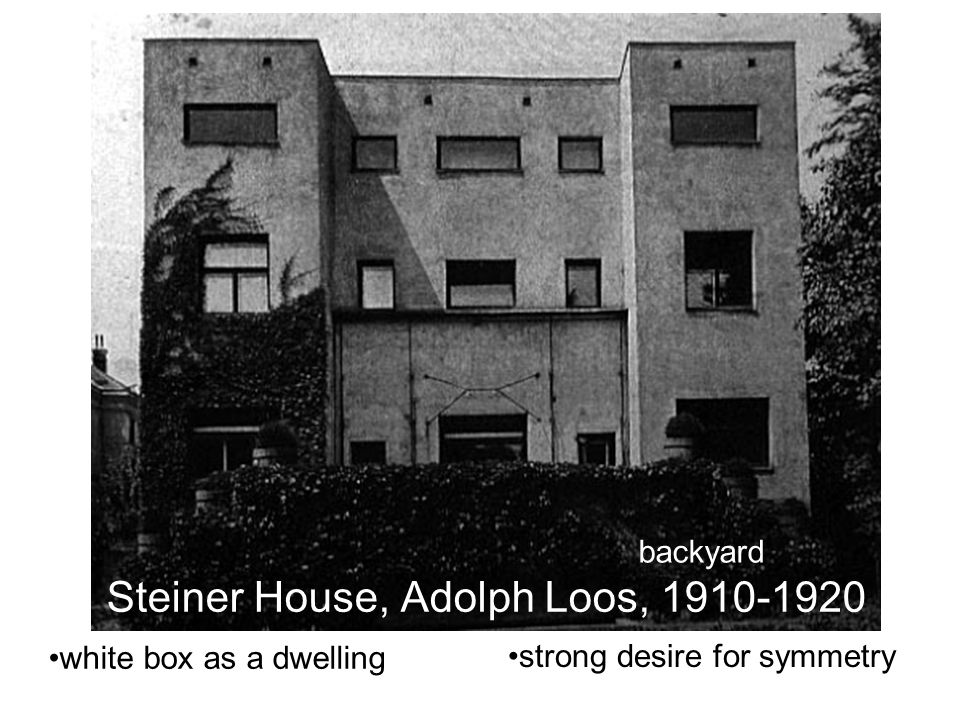 Steiner House, Adolph Loos, 1910-1920 white box as a dwelling strong desire for symmetry backyard