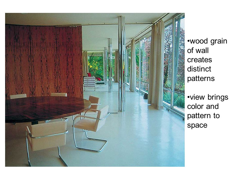 wood grain of wall creates distinct patterns view brings color and pattern to space