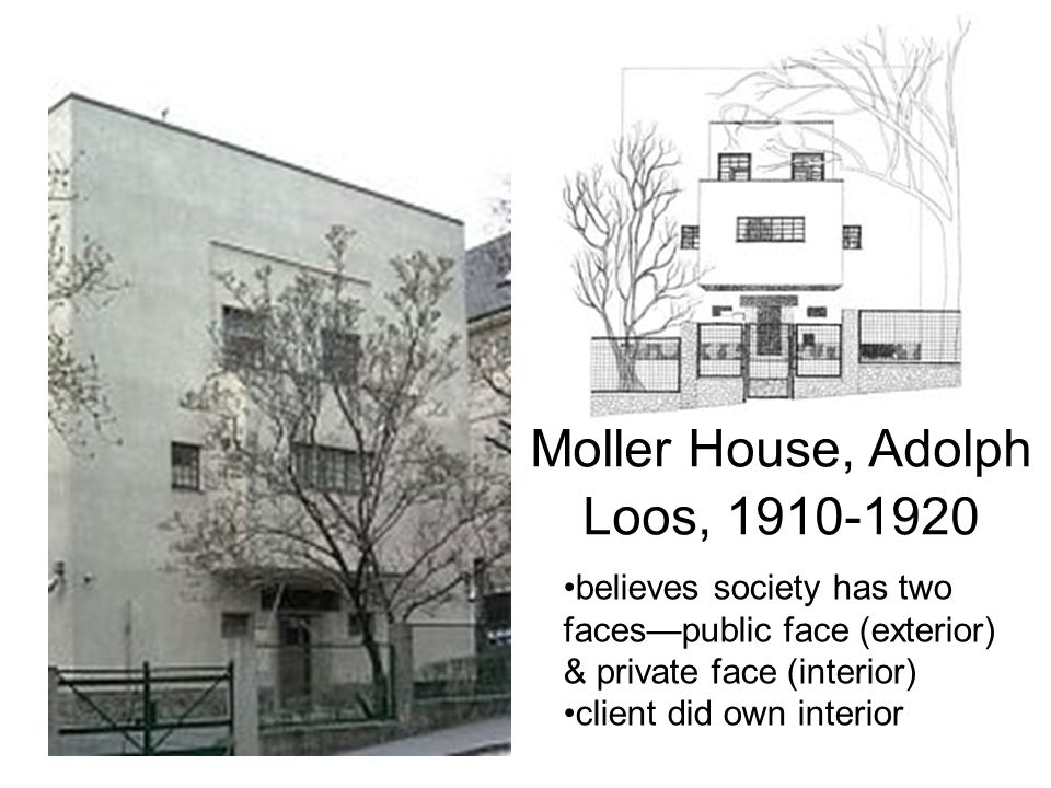 Moller House, Adolph Loos, 1910-1920 believes society has two faces—public face (exterior) & private face (interior) client did own interior