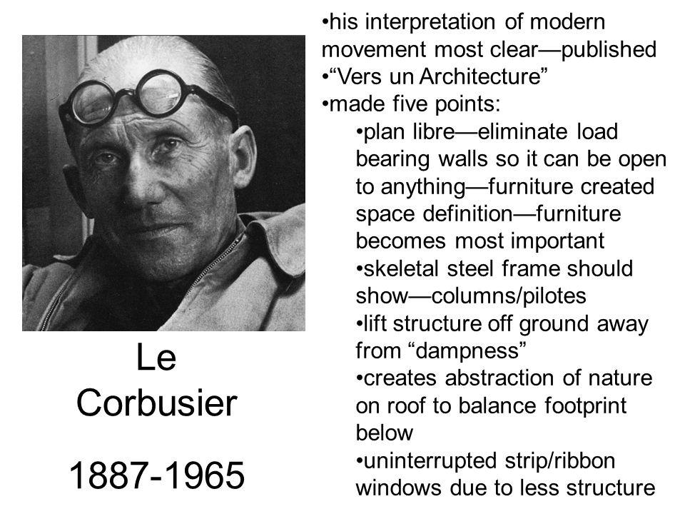 "Le Corbusier 1887-1965 his interpretation of modern movement most clear—published ""Vers un Architecture"" made five points: plan libre—eliminate load b"