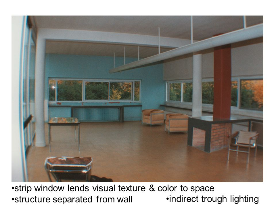 strip window lends visual texture & color to space structure separated from wall indirect trough lighting