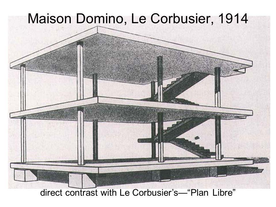 "Maison Domino, Le Corbusier, 1914 direct contrast with Le Corbusier's—""Plan Libre"""