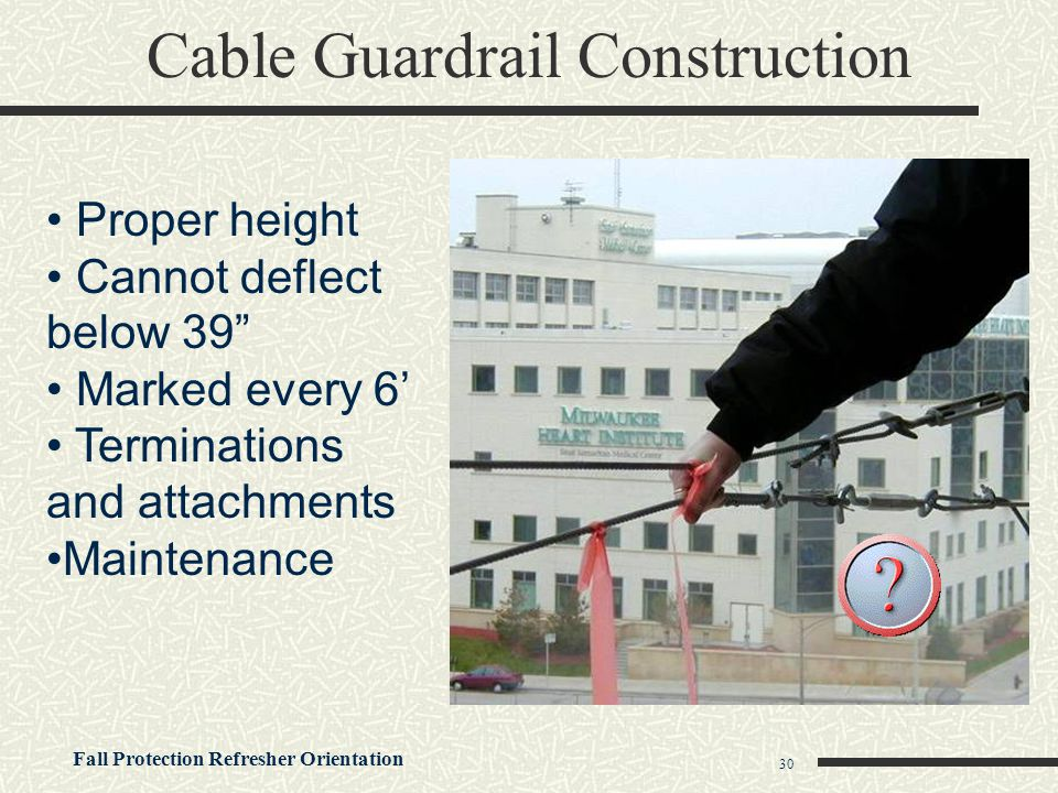 """Fall Protection Refresher Orientation 30 Cable Guardrail Construction Proper height Cannot deflect below 39"""" Marked every 6' Terminations and attachme"""