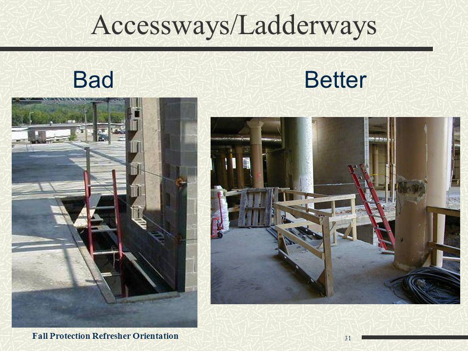 Fall Protection Refresher Orientation 31 Accessways/Ladderways BadBetter