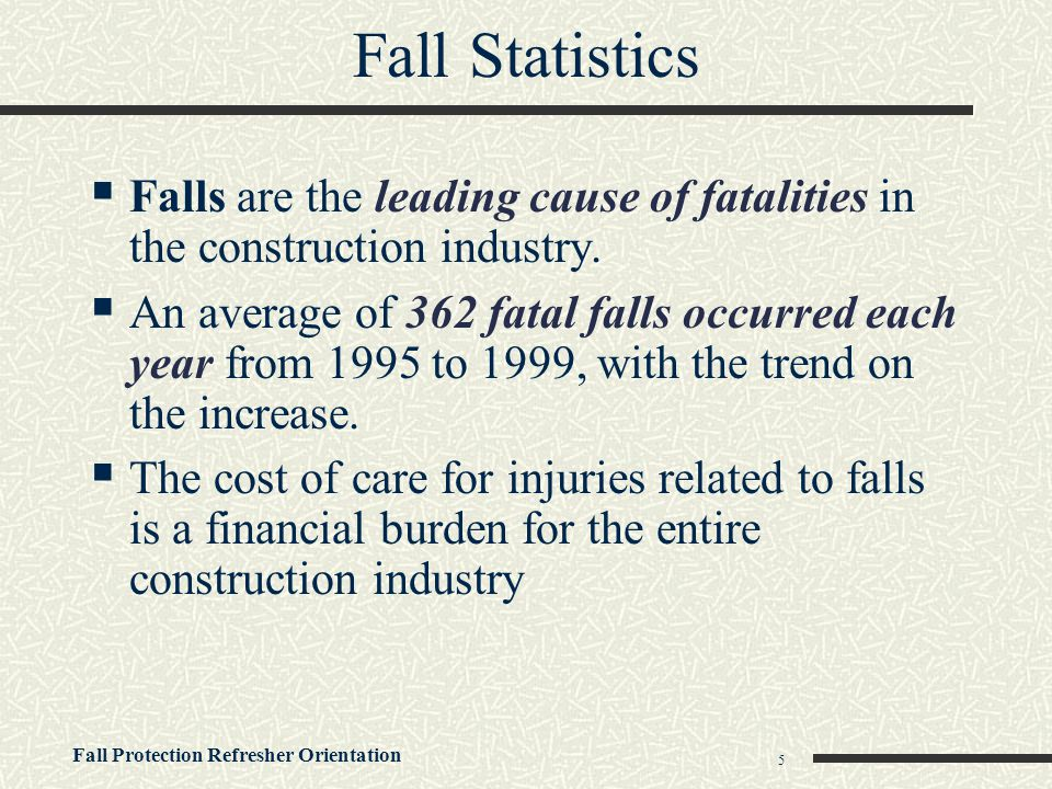 Fall Protection Refresher Orientation 6 Where Do Fatal Falls Occur