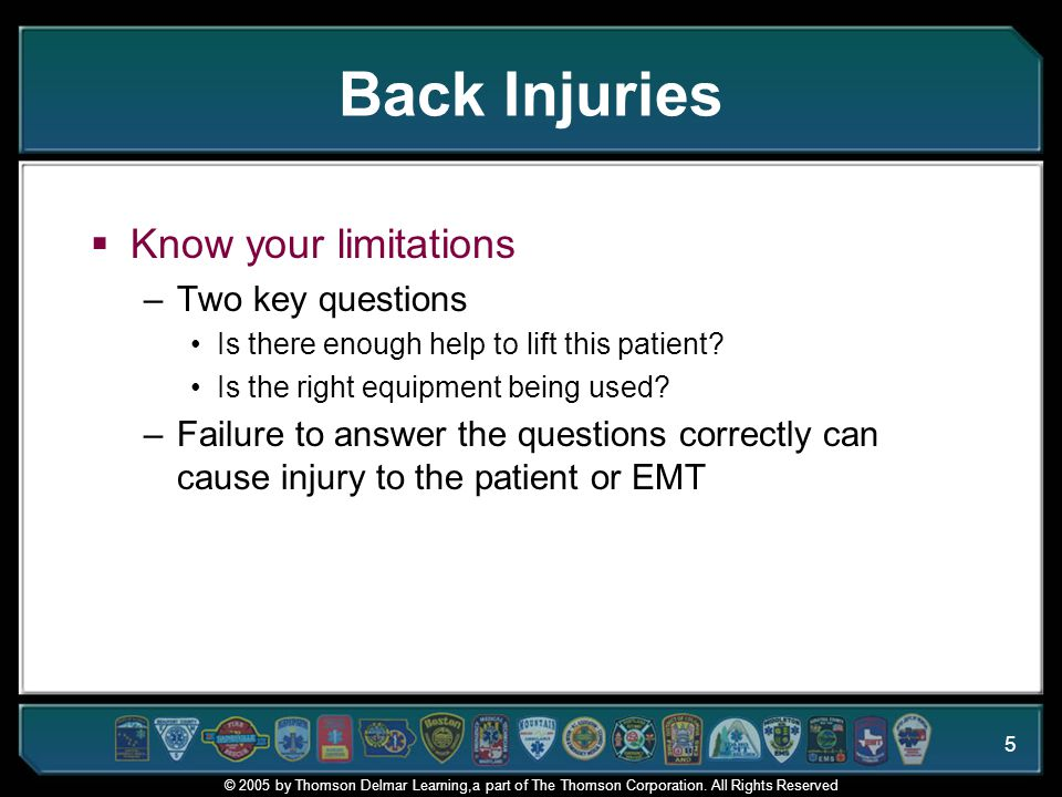 © 2005 by Thomson Delmar Learning,a part of The Thomson Corporation. All Rights Reserved 5 Back Injuries  Know your limitations –Two key questions Is