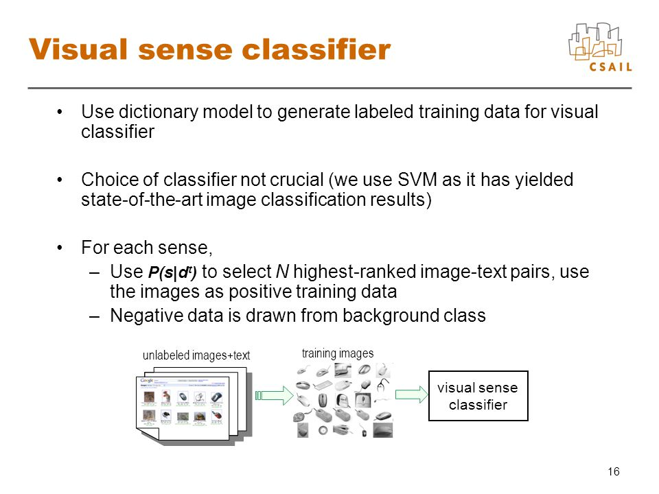 16 Visual sense classifier Use dictionary model to generate labeled training data for visual classifier Choice of classifier not crucial (we use SVM as it has yielded state-of-the-art image classification results) For each sense, –Use P(s|d t ) to select N highest-ranked image-text pairs, use the images as positive training data –Negative data is drawn from background class unlabeled images+text training images visual sense classifier