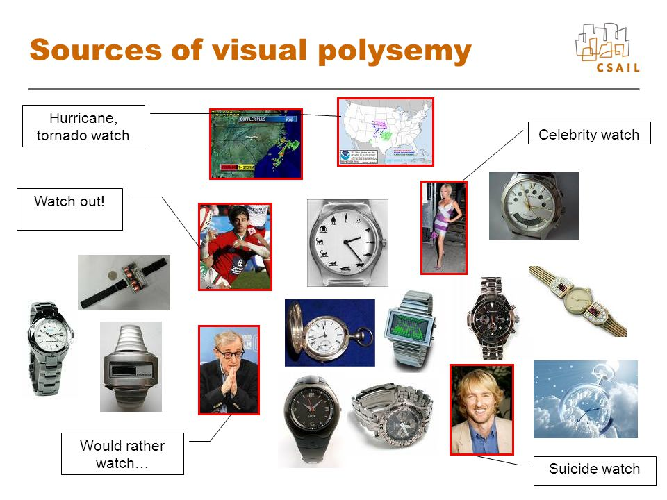 4 Sources of visual polysemy Would rather watch… Suicide watch Hurricane, tornado watch Watch out.