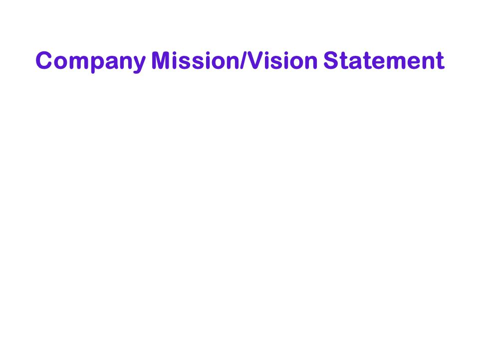 Company Mission/Vision Statement