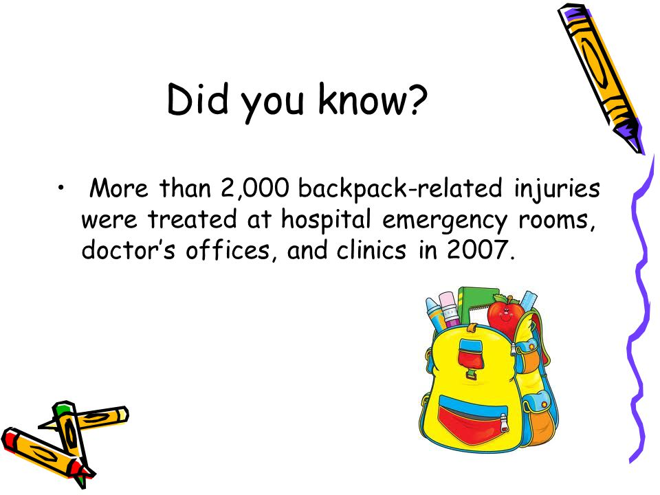 Did you know? More than 2,000 backpack-related injuries were treated at hospital emergency rooms, doctor's offices, and clinics in 2007.