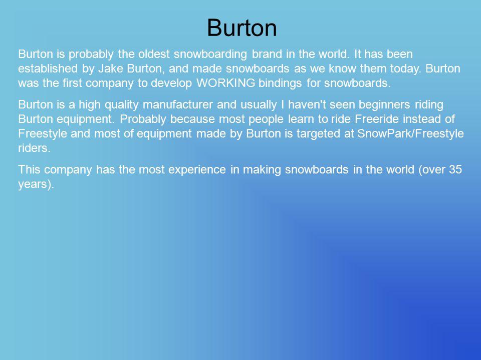 Burton Burton is probably the oldest snowboarding brand in the world.