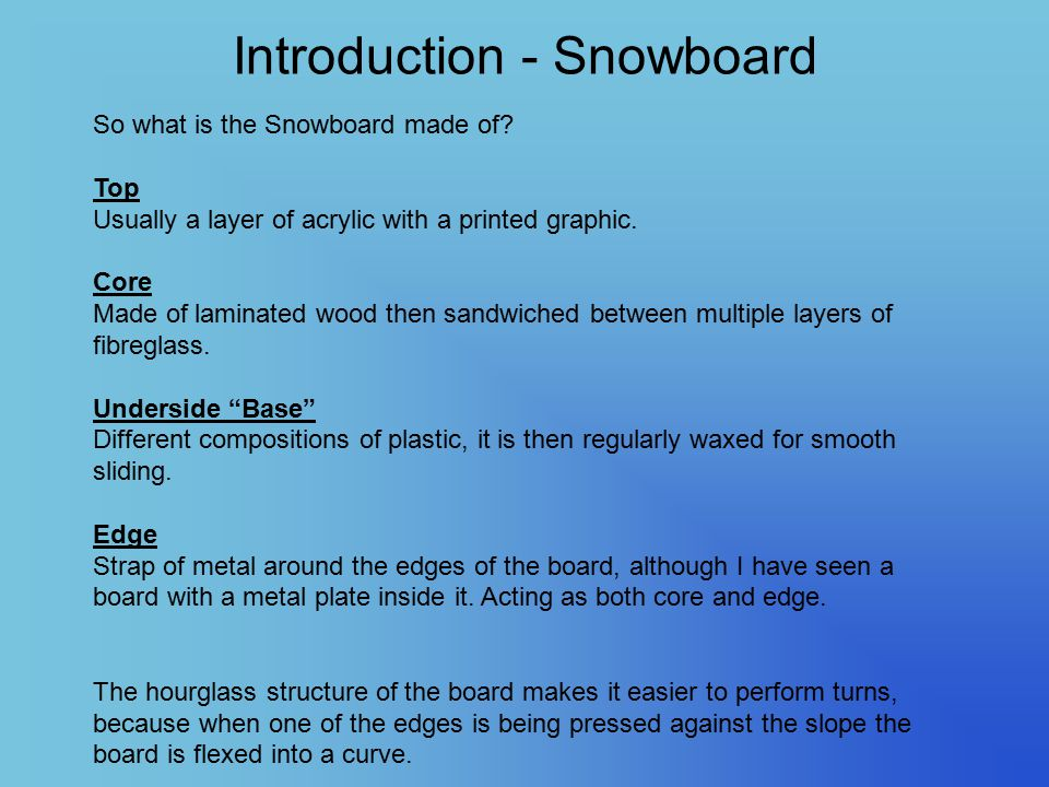 Introduction - Snowboard So what is the Snowboard made of? Top Usually a layer of acrylic with a printed graphic. Core Made of laminated wood then san