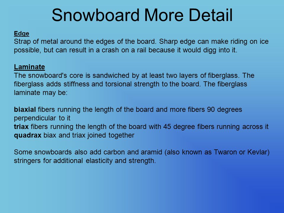 Snowboard More Detail Edge Strap of metal around the edges of the board. Sharp edge can make riding on ice possible, but can result in a crash on a ra
