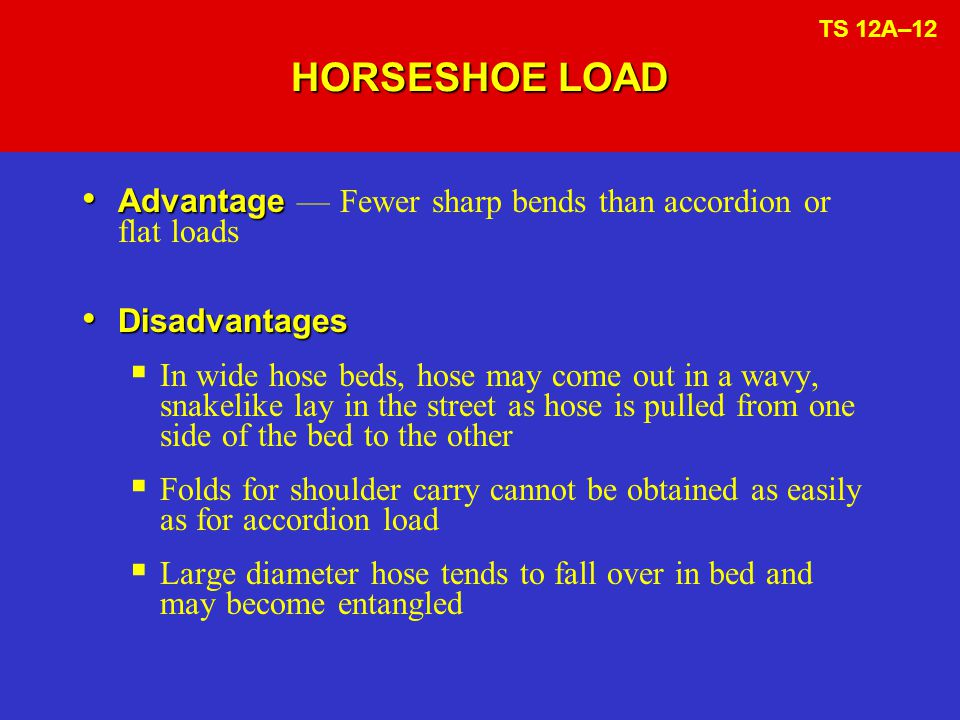 HORSESHOE LOAD Advantage Advantage — Fewer sharp bends than accordion or flat loads Disadvantages Disadvantages  In wide hose beds, hose may come out in a wavy, snakelike lay in the street as hose is pulled from one side of the bed to the other  Folds for shoulder carry cannot be obtained as easily as for accordion load  Large diameter hose tends to fall over in bed and may become entangled TS 12A–12