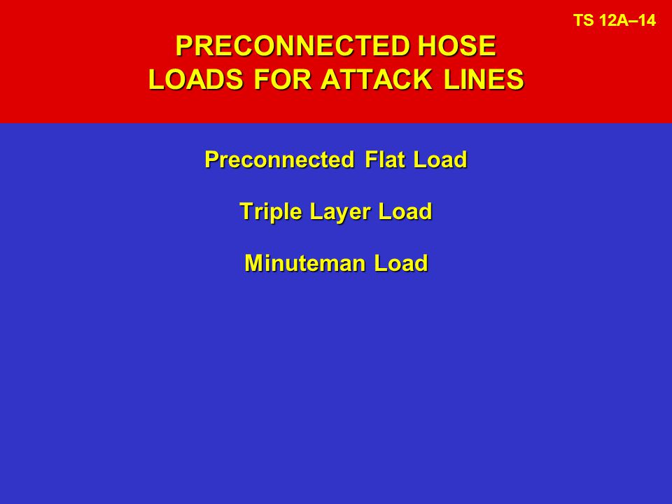 PRECONNECTED HOSE LOADS FOR ATTACK LINES Preconnected Flat Load Triple Layer Load Minuteman Load TS 12A–14