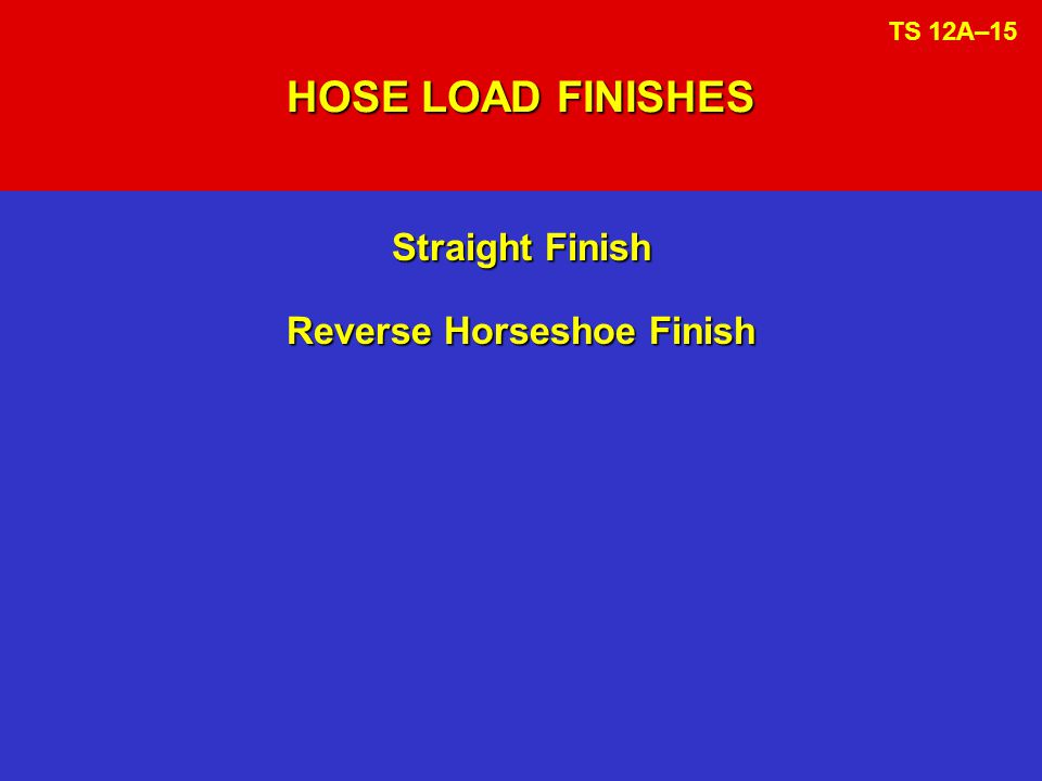 HOSE LOAD FINISHES Straight Finish Reverse Horseshoe Finish TS 12A–15