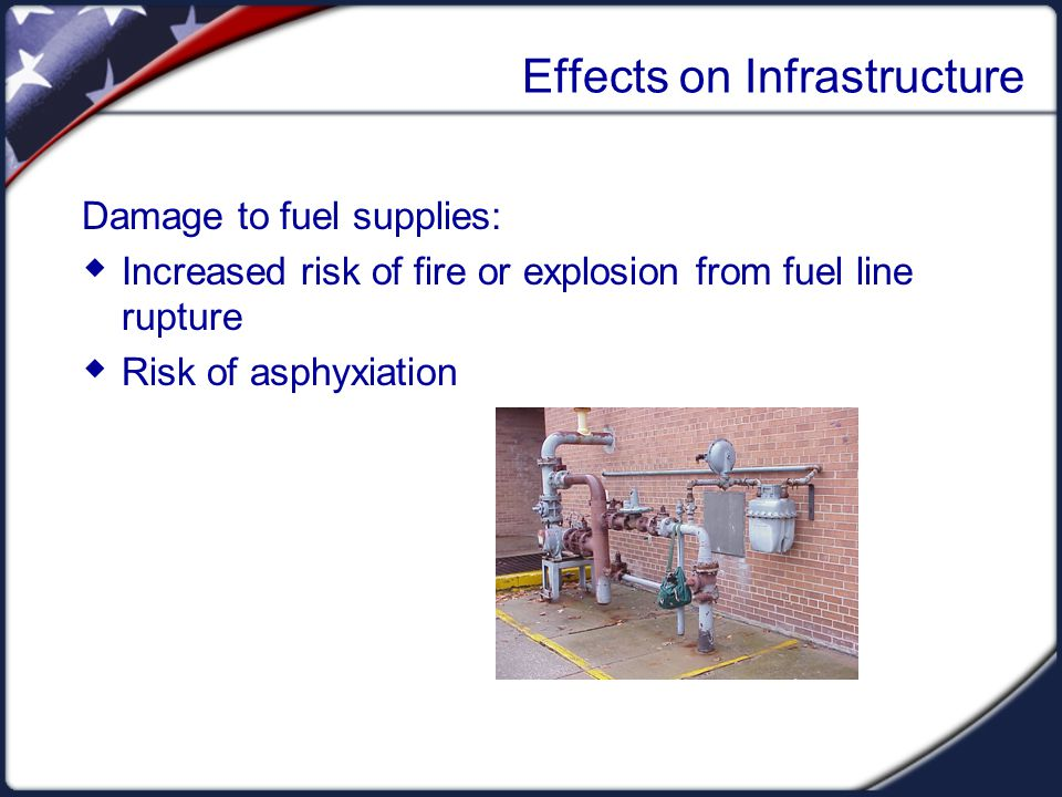 Effects on Infrastructure Damage to fuel supplies:  Increased risk of fire or explosion from fuel line rupture  Risk of asphyxiation