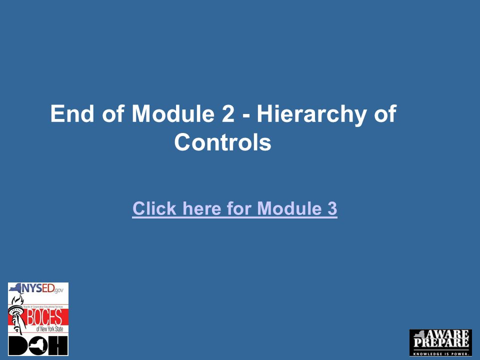 End of Module 2 - Hierarchy of Controls Click here for Module 3