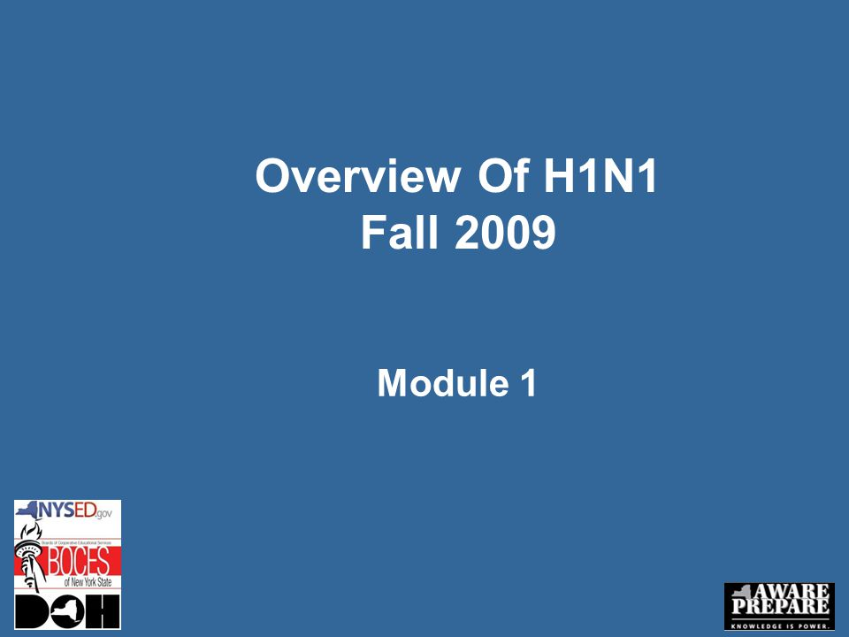 Overview Of H1N1 Fall 2009 Module 1