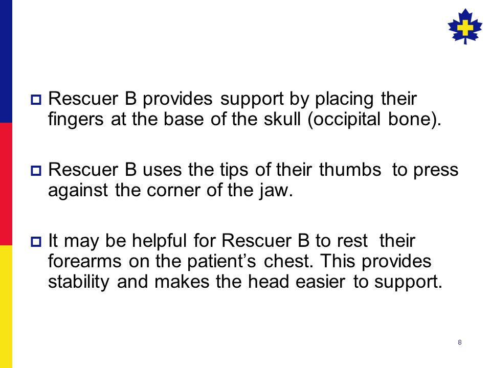 8  Rescuer B provides support by placing their fingers at the base of the skull (occipital bone).