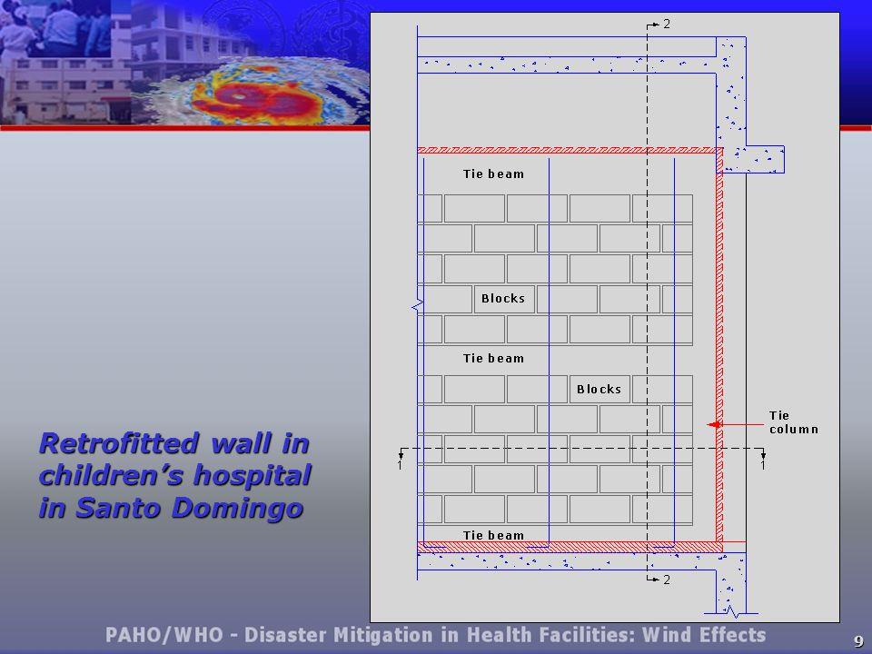 9 Retrofitted wall in children's hospital in Santo Domingo