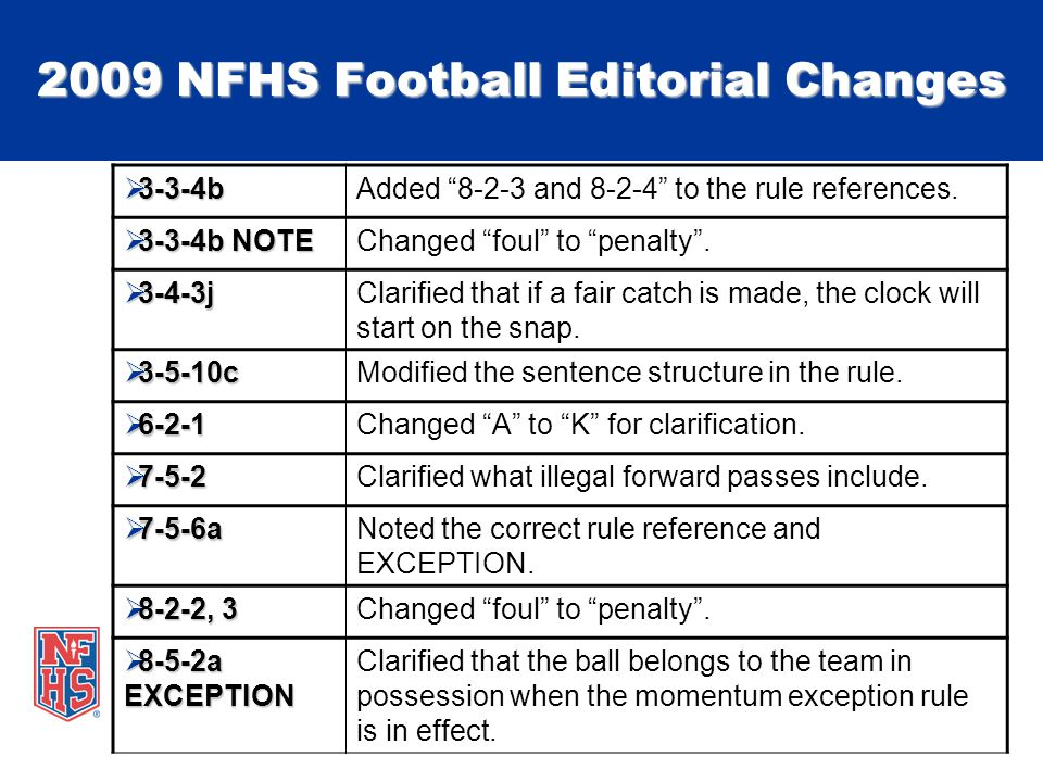 2009 NFHS Football Editorial Changes  3-3-4b Added 8-2-3 and 8-2-4 to the rule references.