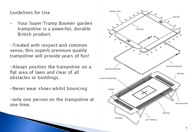 Guidelines for Use -Your Super Tramp Boomer garden trampoline is a powerful, durable British product.