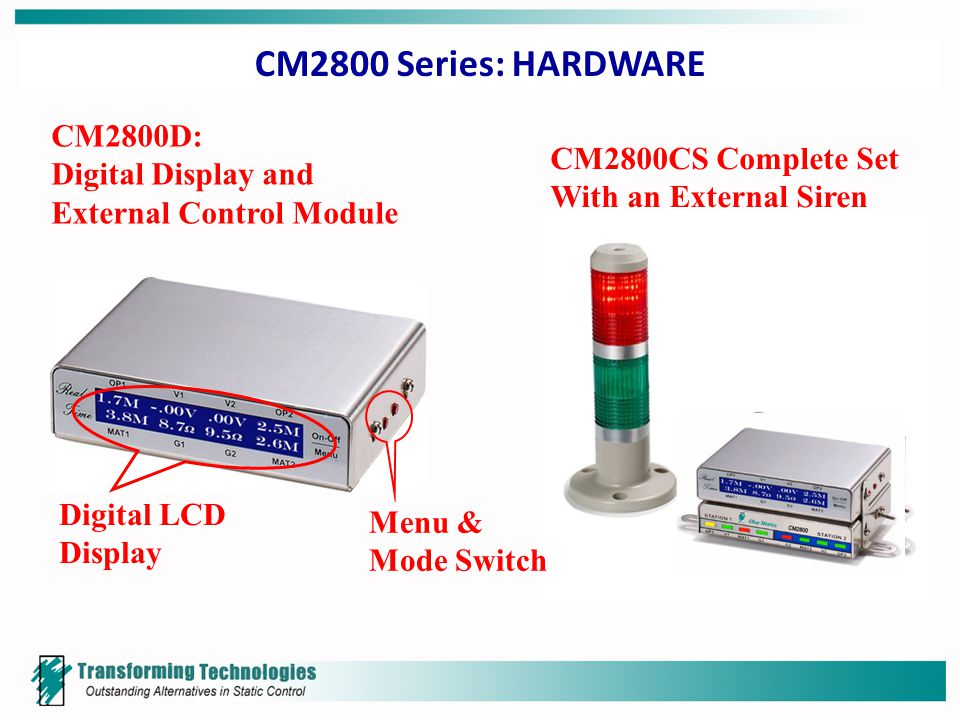 CM2800 Series: HARDWARE Digital LCD Display CM2800D: Digital Display and External Control Module Menu & Mode Switch CM2800CS Complete Set With an External Siren