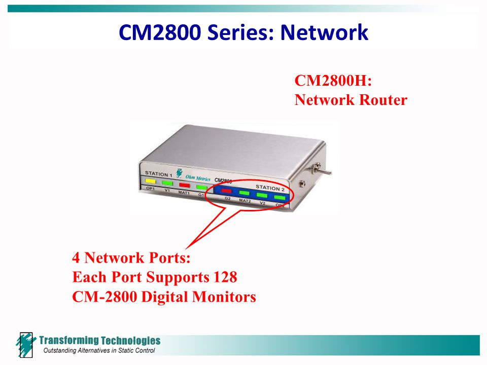 CM2800 Series: Network CM2800H: Network Router 4 Network Ports: Each Port Supports 128 CM-2800 Digital Monitors