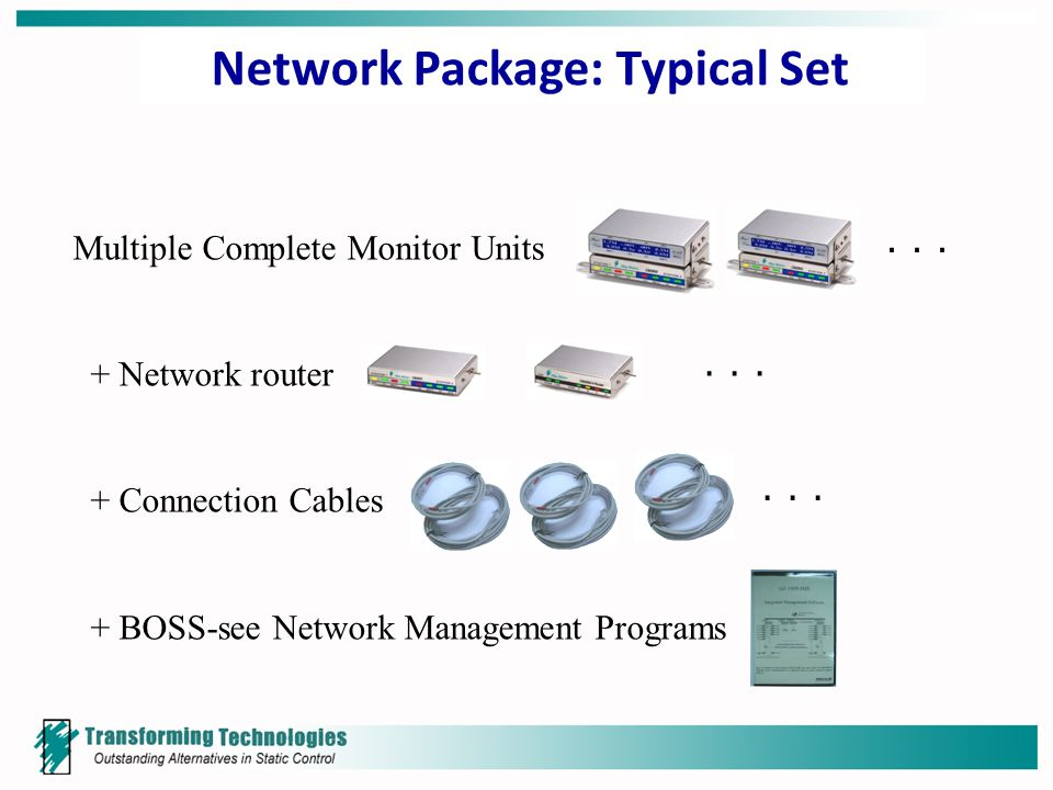 Network Package: Typical Set Multiple Complete Monitor Units + Network router + Connection Cables + BOSS-see Network Management Programs ∙ ∙ ∙