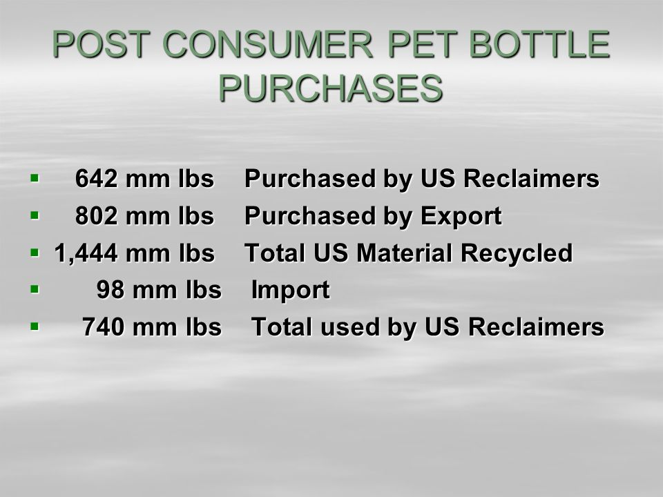 POST CONSUMER PET BOTTLE PURCHASES  642 mm lbs Purchased by US Reclaimers  802 mm lbs Purchased by Export  1,444 mm lbs Total US Material Recycled  98 mm lbs Import  740 mm lbs Total used by US Reclaimers