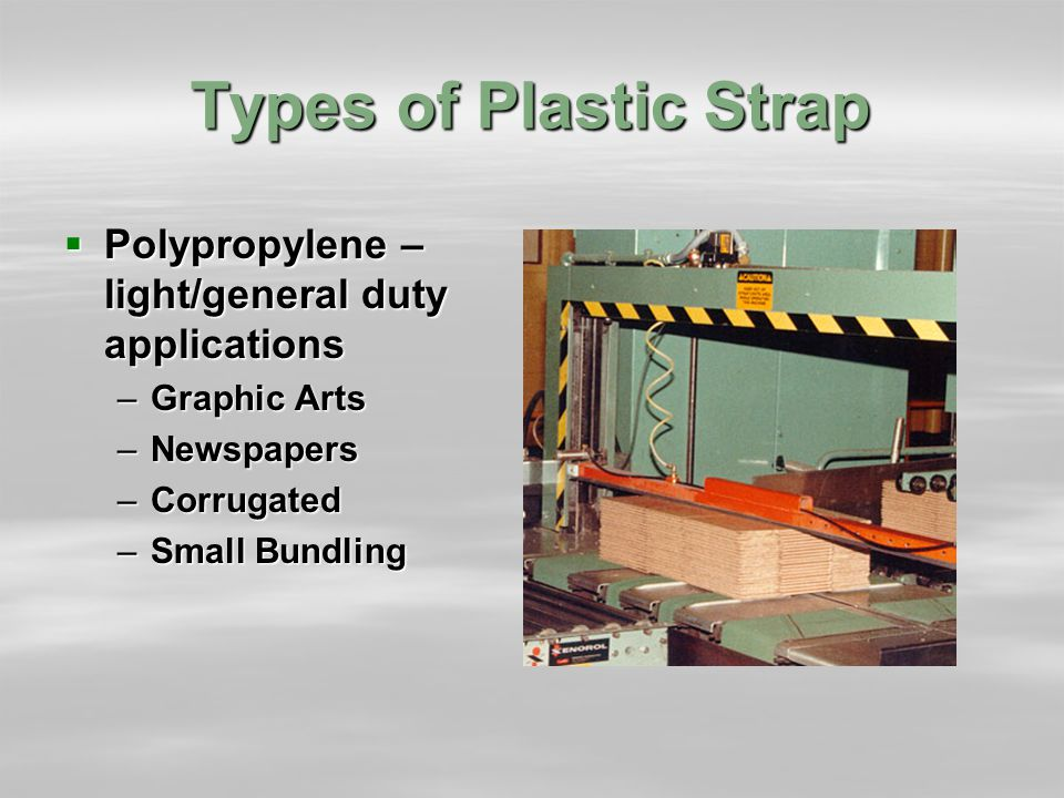 Types of Plastic Strap  Polypropylene – light/general duty applications –Graphic Arts –Newspapers –Corrugated –Small Bundling