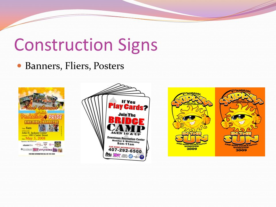 Construction Signs Banners, Fliers, Posters