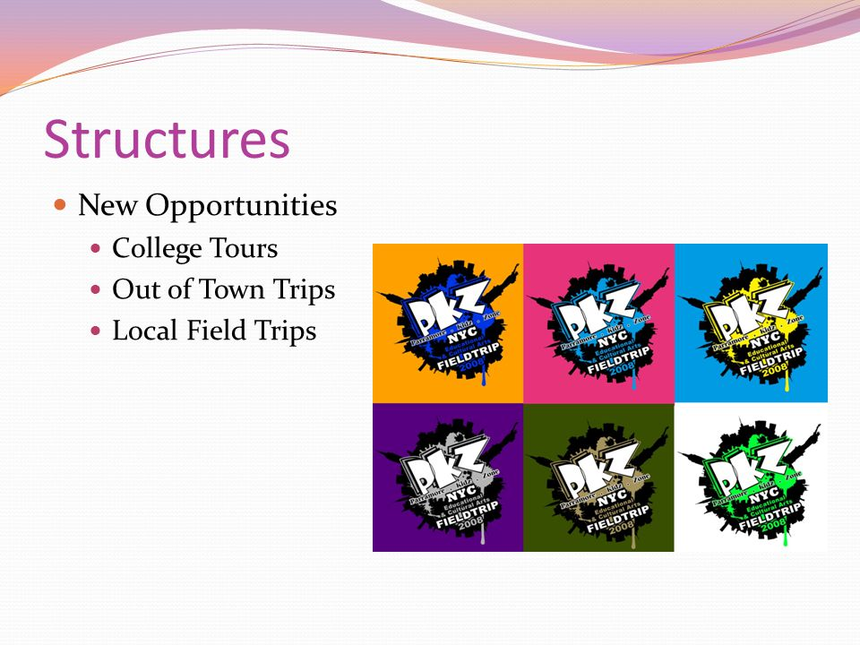 Structures New Opportunities College Tours Out of Town Trips Local Field Trips
