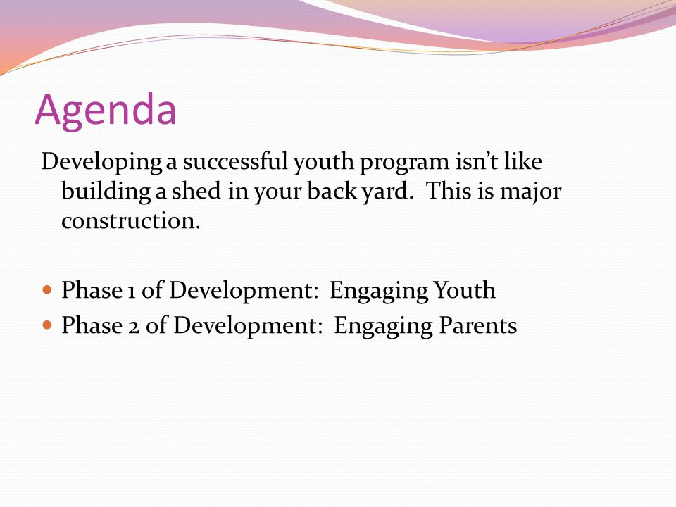 Agenda Developing a successful youth program isn't like building a shed in your back yard.