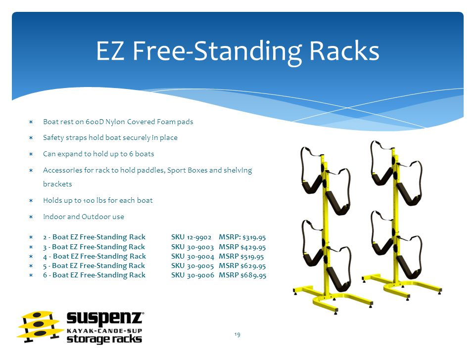 EZ Free-Standing Racks  Boat rest on 600D Nylon Covered Foam pads  Safety straps hold boat securely in place  Can expand to hold up to 6 boats  Accessories for rack to hold paddles, Sport Boxes and shelving brackets  Holds up to 100 lbs for each boat  Indoor and Outdoor use  2 - Boat EZ Free-Standing RackSKU 12-9902 MSRP: $319.95  3 - Boat EZ Free-Standing RackSKU 30-9003 MSRP $429.95  4 - Boat EZ Free-Standing Rack SKU 30-9004 MSRP $519.95  5 - Boat EZ Free-Standing Rack SKU 30-9005 MSRP $629.95  6 - Boat EZ Free-Standing RackSKU 30-9006 MSRP $689.95 19
