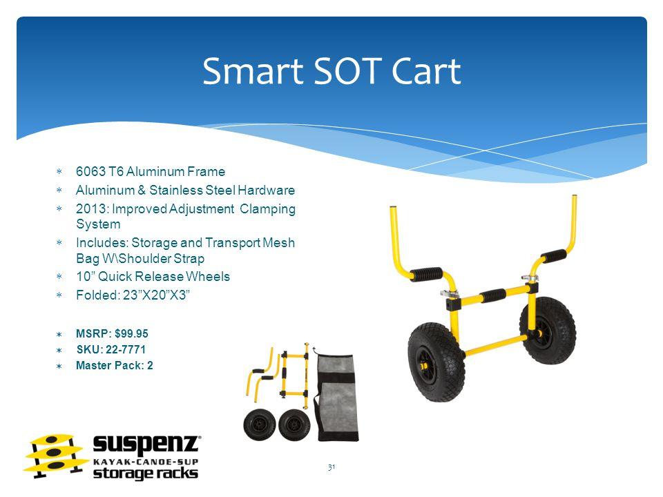 Smart SOT Cart  6063 T6 Aluminum Frame  Aluminum & Stainless Steel Hardware  2013: Improved Adjustment Clamping System  Includes: Storage and Transport Mesh Bag W\Shoulder Strap  10 Quick Release Wheels  Folded: 23 X20 X3  MSRP: $99.95  SKU: 22-7771  Master Pack: 2 31