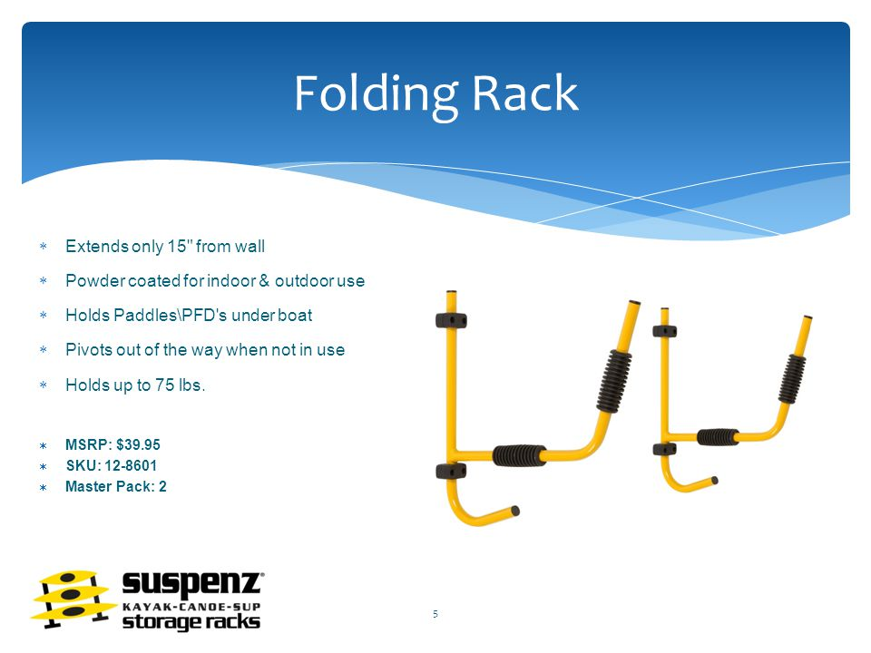 Folding Rack  Extends only 15 from wall  Powder coated for indoor & outdoor use  Holds Paddles\PFD s under boat  Pivots out of the way when not in use  Holds up to 75 lbs.