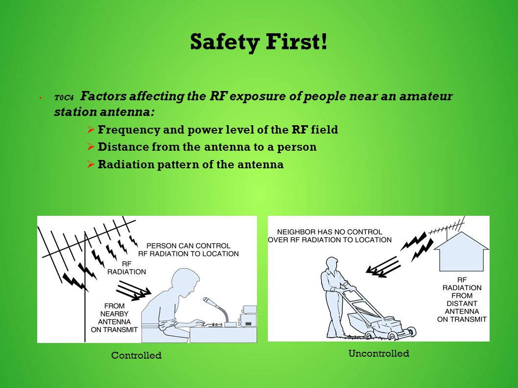 Safety First! T0C4 Factors affecting the RF exposure of people near an amateur station antenna:  Frequency and power level of the RF field  Distance