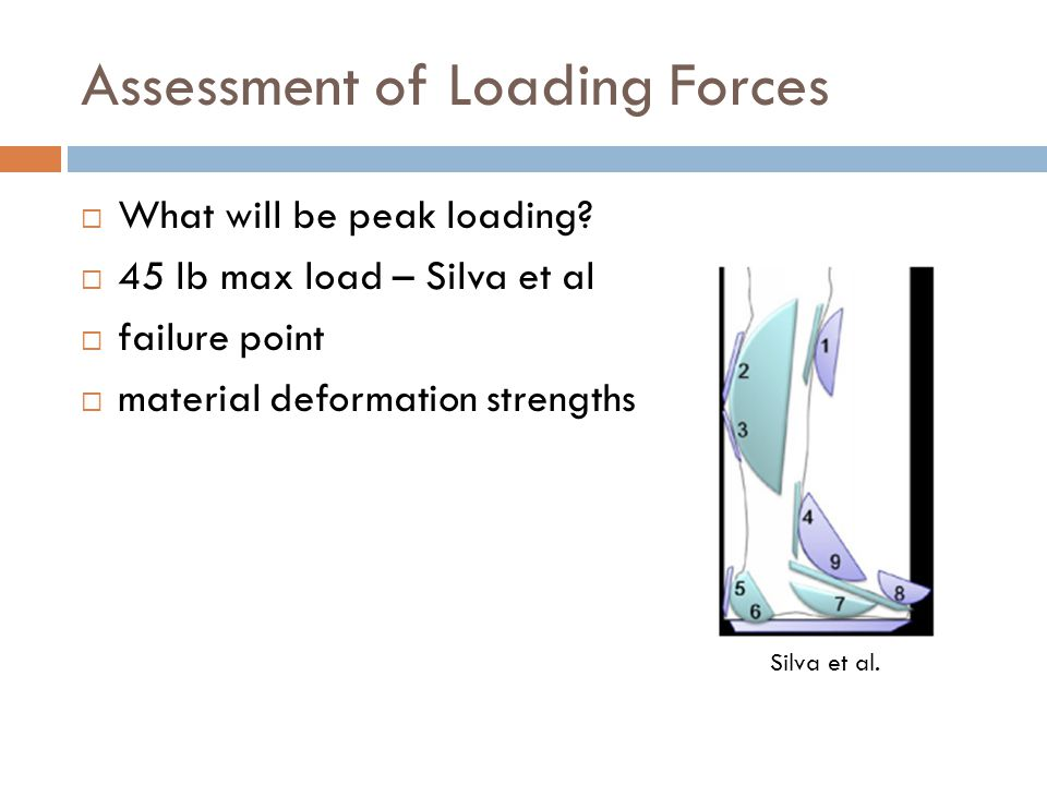 Assessment of Loading Forces  What will be peak loading.