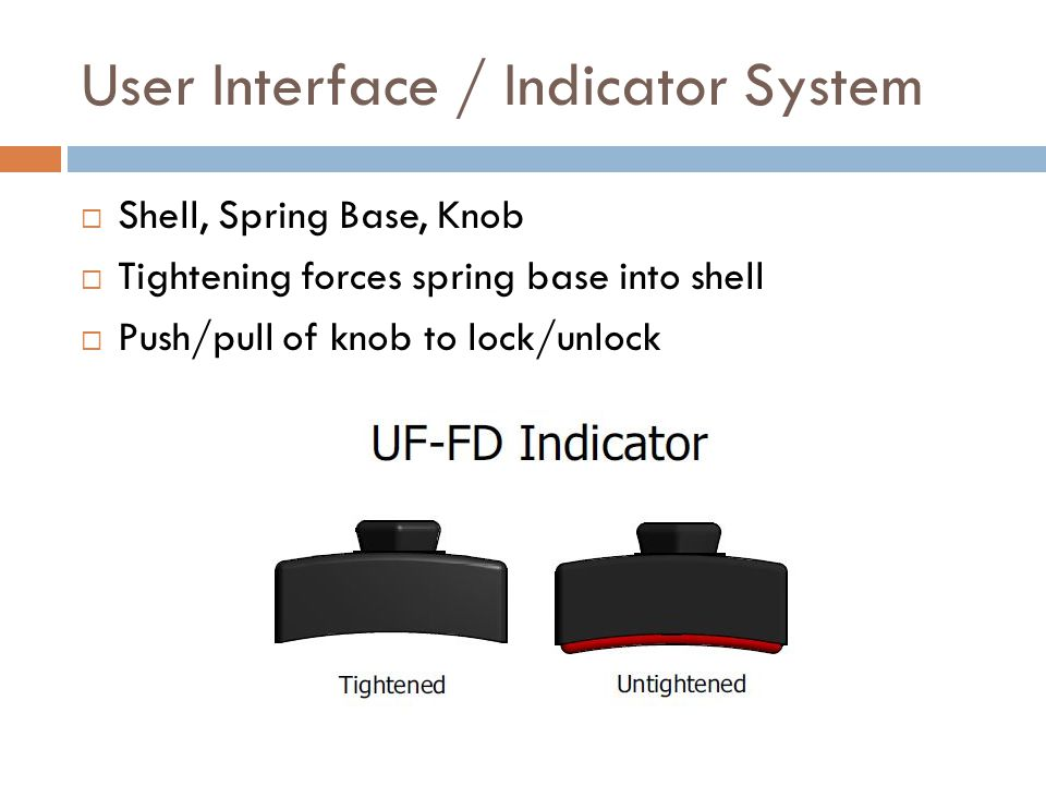 User Interface / Indicator System  Shell, Spring Base, Knob  Tightening forces spring base into shell  Push/pull of knob to lock/unlock