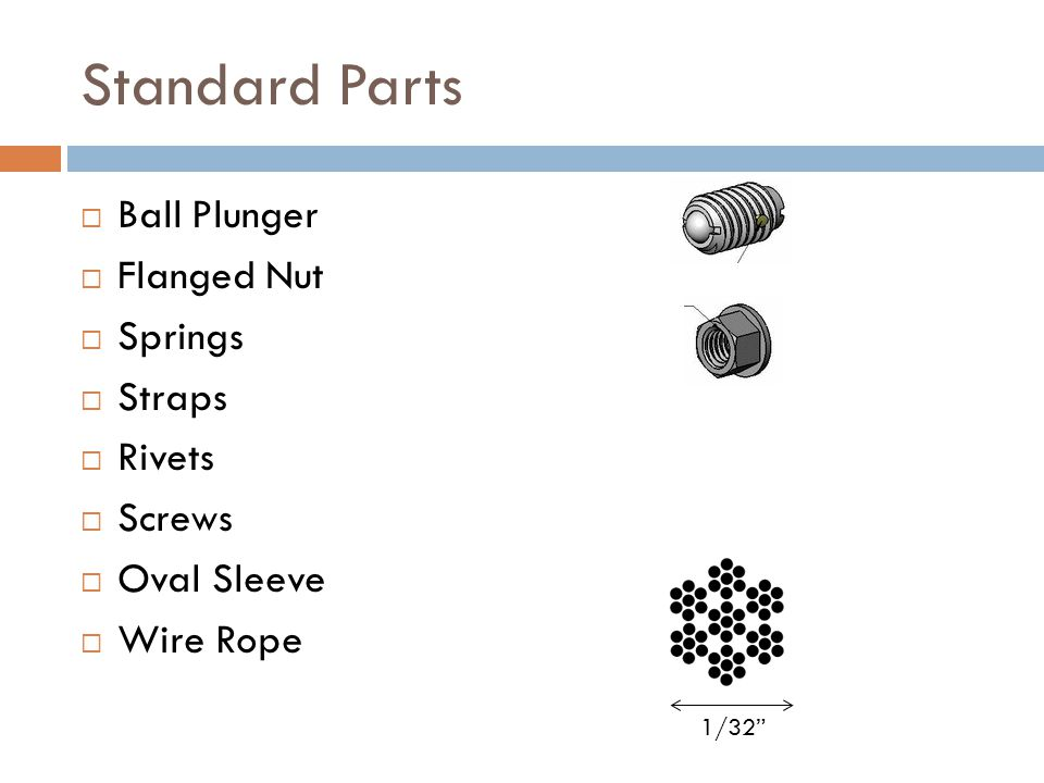 Standard Parts  Ball Plunger  Flanged Nut  Springs  Straps  Rivets  Screws  Oval Sleeve  Wire Rope 1/32