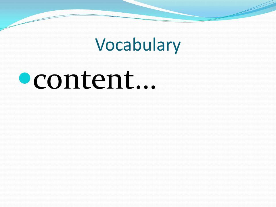 Vocabulary content…