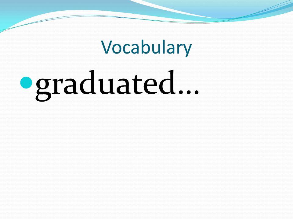 Vocabulary graduated…