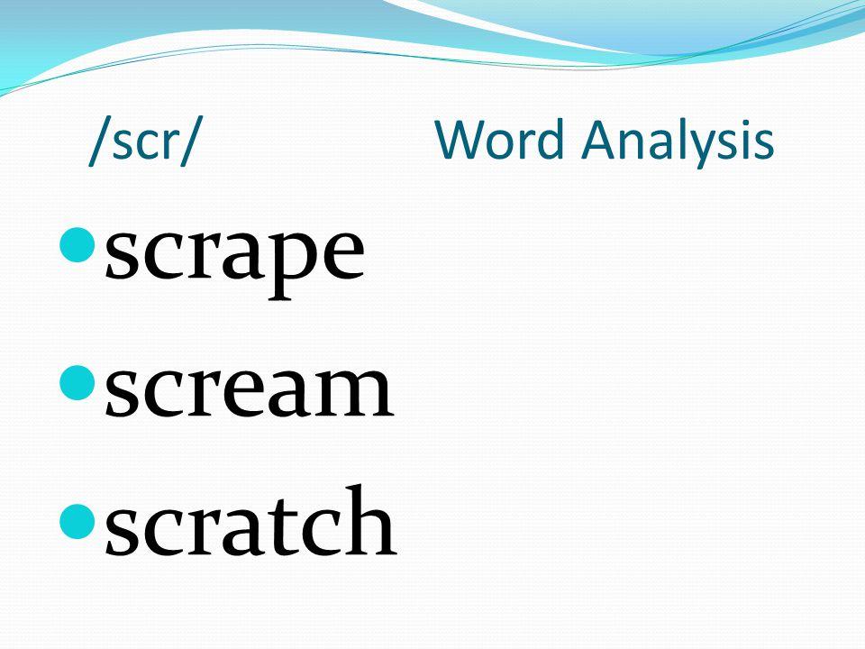 /scr/ Word Analysis scrape scream scratch