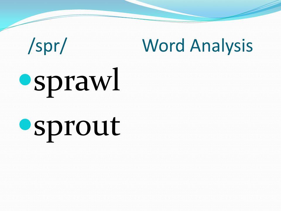 /spr/ Word Analysis sprawl sprout